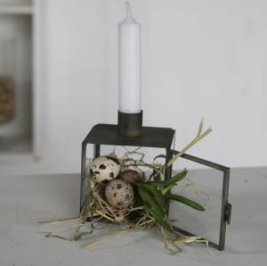 Inspiration til påske, lysholder på glaskasse