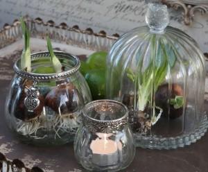 brugskunst glasklokke og lysestager