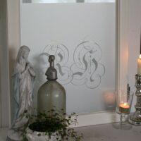 Vinduesfolie med monogram 45x100 cm
