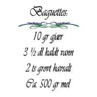 Baguettes opskrift, norsk wallsticker