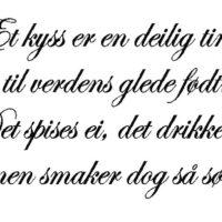 Et kyss er en dejlig ting, norsk wallsticker