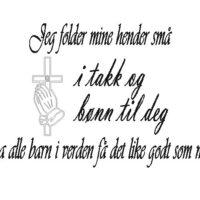 Jeg folder mine hænder små, norsk wallsticker