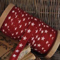 Rød julebånd med stjerner