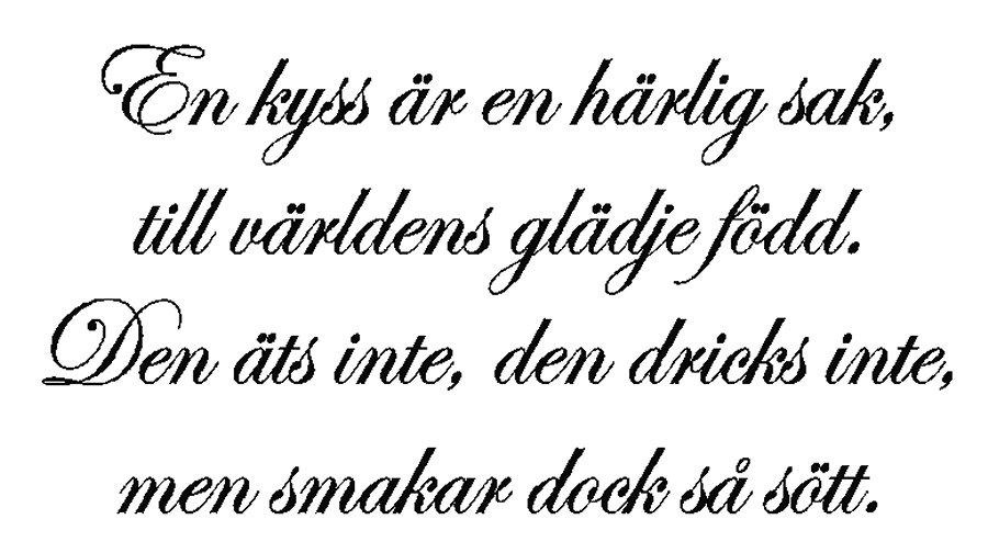 Et kyss ar en harlig sak, svensk wallsticker