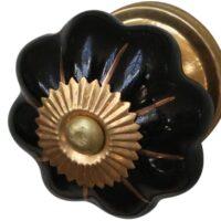 Porcelænsgreb blomst i guld 3 STK. TILBAGE