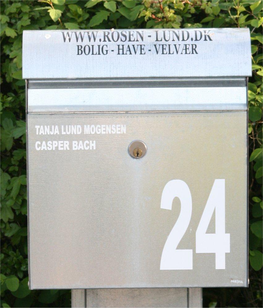 Navn til postkasse med stor hus Nr.