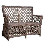 Harlekin sofa i antikgrå rattan