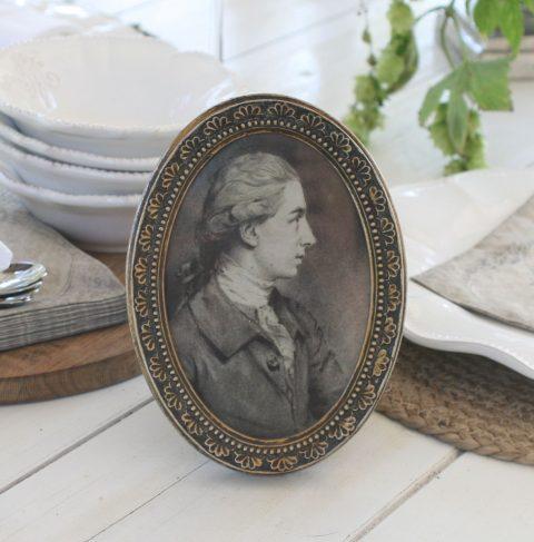 Fransk oval ramme i antique guld - lille