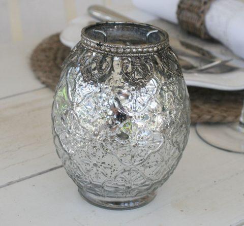 Lysestage med lysholder i sølv
