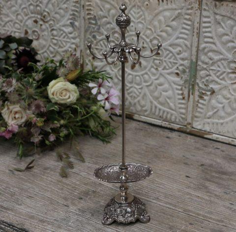 Smykkestativ med holder og 6 arme, Antique sølv