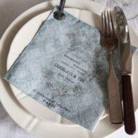Servietter med skrift - Støvet blå