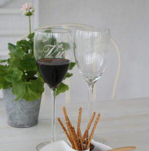Rødvinsglas med tekst Vin