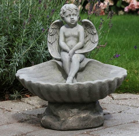 Fuglebad med engel, Antique grå