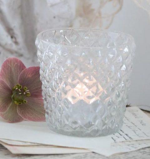 Lille lysestage i klar glas
