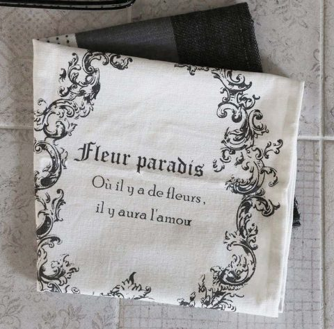 Viskestykke med fransk print sort/hvid