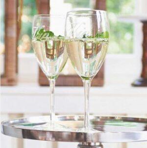 Hvidvinsglas med tekst Vin