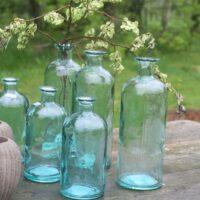 Glasflaske - stor i grøn/blå nuancer