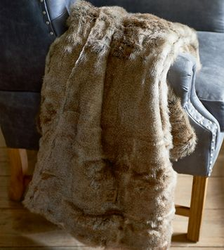 Plaid - Polar Faux Fur Throw grey