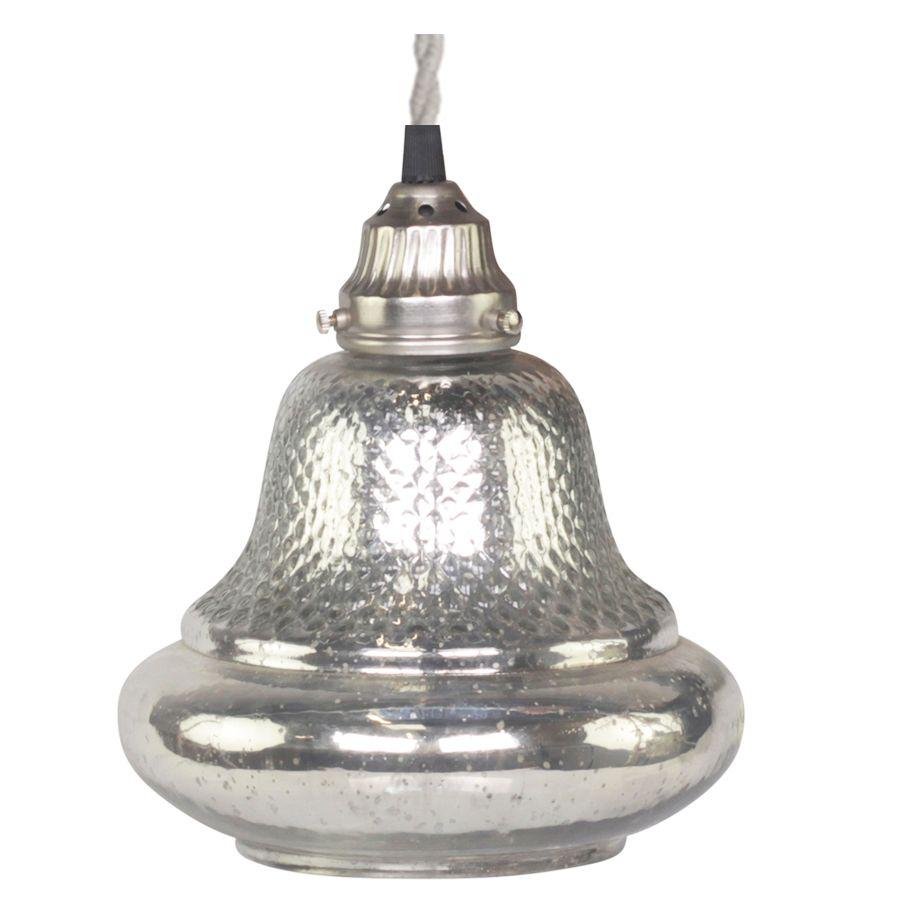 Sølv loftlampe med mønster - stor