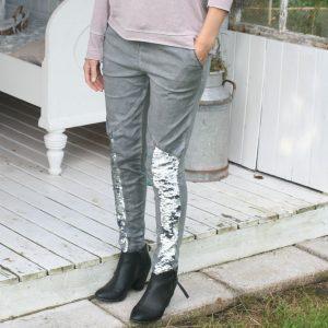 Sweatpants med palietter - grå