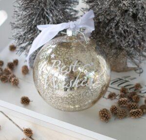Stor Julekugle i sølv m. tekst Best Wishes