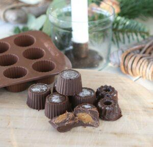 Fyldt chokolade med karmel