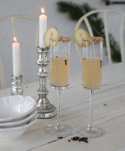 juledrink i champagneglas