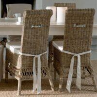 Spisebordsstol i rattan, St Malo dining chair INKL. Hynde