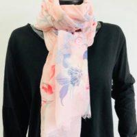 Tørklæde med blomster mønster, rosa