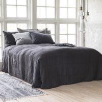Quilt sengetæppe, mørkegrå