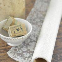 Transparent stof med mønster, Hvid/creme