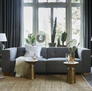 Sofa - Hampton Heights Sofa 3,5 seater, washed cotton, grey BESTILLINGSVARER