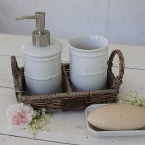 Lille bakke m. håndtag - Rustic Rattan Soap Tray
