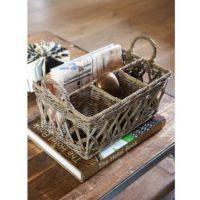 Kurv m. 4 rum- Rustic Rattan Organizer Open Weave