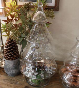 Glas juletræ- Let It Snow Glass Christmas Tree L