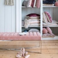 Bænk - Thompson Bench Velv Blush BESTILLINGSVARER