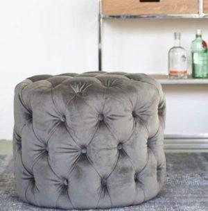 Fodstol - Opera Footstool Velvet Slate Grey BESTILLINGSVARER