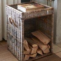Brændekurv - Rustic Rattan Fire Wood Basket BESTILLINGSVARER