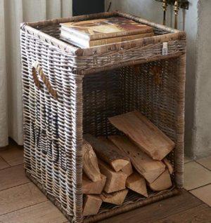 Brændekurv - Rustic Rattan Fire Wood Basket