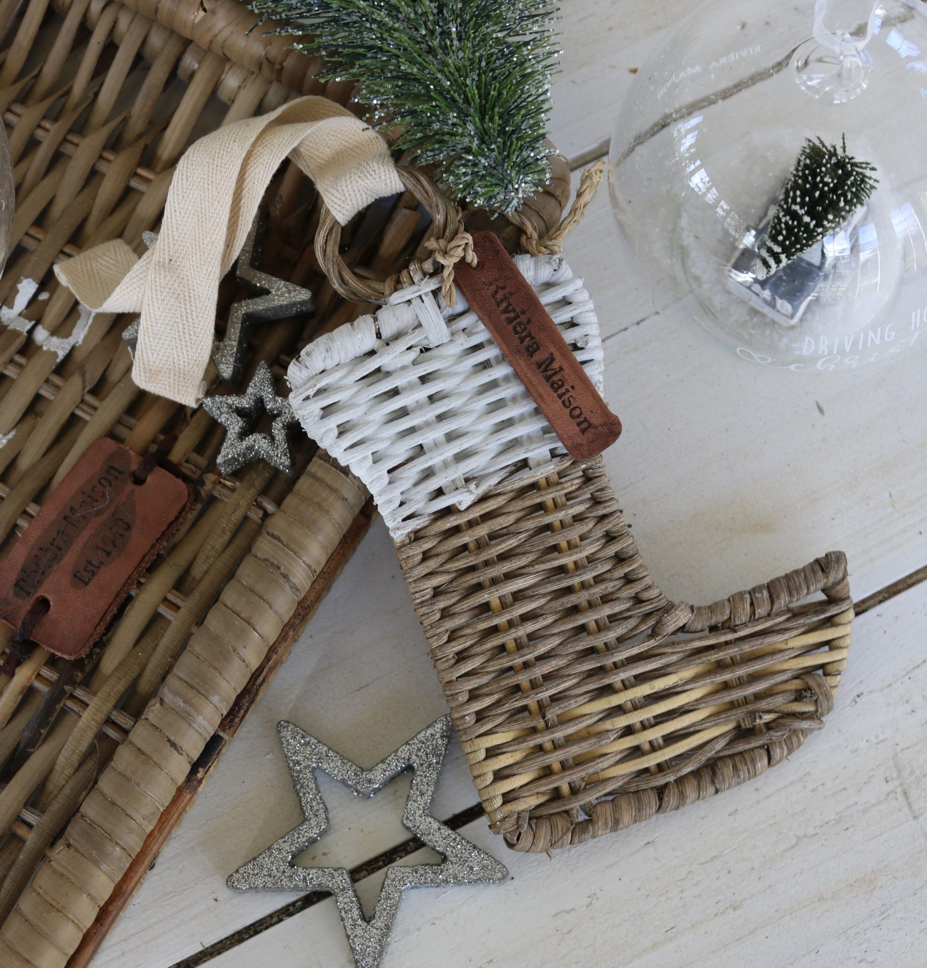 Julesok – Rustic Rattan Christmas Hanger Stocking
