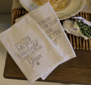 4 stk. stofserviet - It's The Most Wonderful Time Of The Year Napkin silver