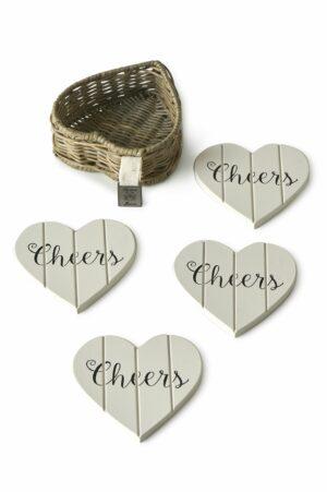 Glasbrikker - Rustic Rattan Heart Coasters