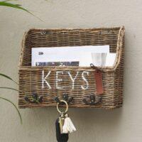 Nøgleskab - Rustic Rattan Keys Organiser