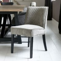 Bridge Lane Dining Chair Diamond Stitch, italian rib, mouse BESTILLINGSVARER