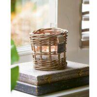 lysestage i rattan - Rustic Rattan Votive Square Weave