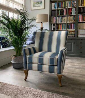 Lænestol - Cavendish Armchair, blue stripe BESTILLINGSVARER