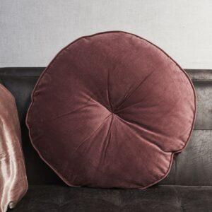 Stor rund Velvet pude i pink - Dia 60