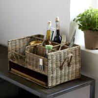 Kurve opbevaring - Rustic Rattan Restaurant Basket