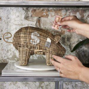 Sparegris - Rustic Rattan Piggy Money Saver
