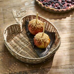 Æblebakke - Rustic Rattan Apple Serving Tray